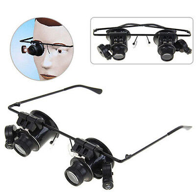 Novel Watch Repair Binocular Magnifier 20X Glasses Type With LED New
