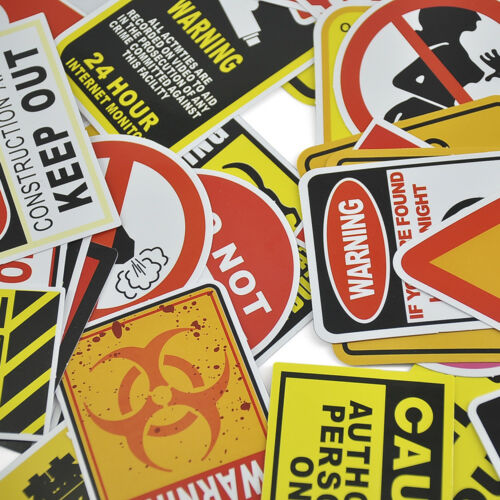 50PCS Authentic Red And Black Warning Stickers Snowboard Luggage Car Laptop New