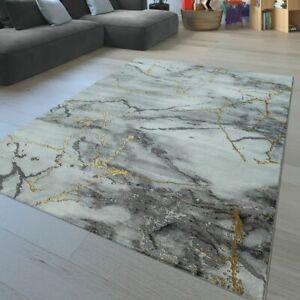 Details Zu Kurzflor Wohnzimmer Teppich Marmor Muster Abstraktes Design Meliert In Grau Gold