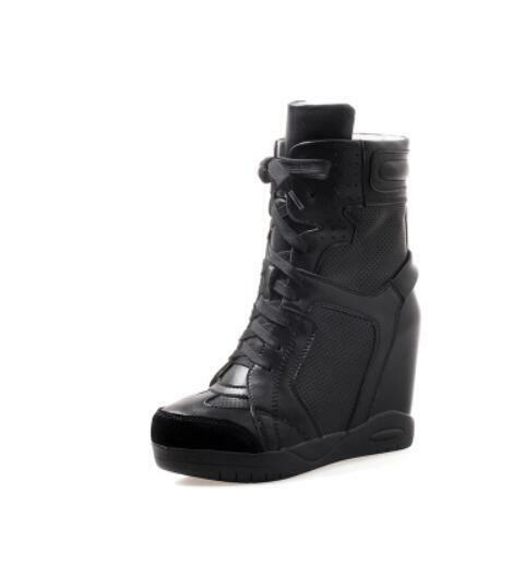 Donna Genuine Pelle High  Top Fashion  High Platform Wedge Ankle Stivali F589 8cccd9