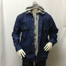 NWT Marina Bay Men's Jeans Hooded Jacket Blue Denim Double Layer Hoodie Button L