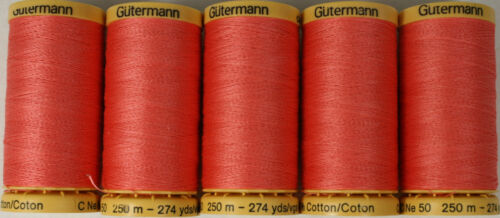 5 X 250M REELS GUTERMANN 100/% COTTON THREAD RRP £22.49 Choose your own colour