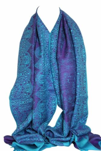 Two Sided Reversible Self Embossed Paisley /& Floral Print Pashmina Feel Scarves