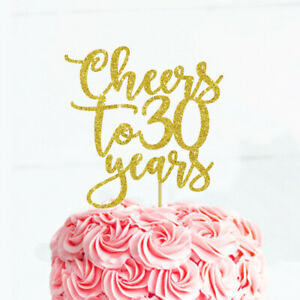30th Birthday Cake Topper  Cheers to 30 Years  Birthday Party Centerpiece  Glitter Cake Topper for 30th Birthday  30th B-day Decor