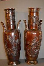 Pair Large (50cm) Antique 19th Century Chinese Bronze Two Handled Vases,c1870