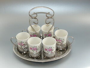 Vintage-1950-s-Enoch-Wedgwood-Set-6-coffee-Cups-amp-Silver-plated-Holders-amp-Tray