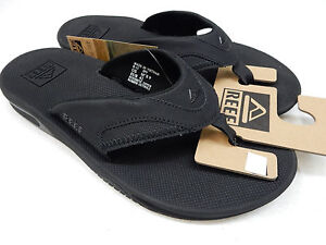 c528ec119622 Image is loading REEF-MENS-SANDALS-FANNING-ALL-BLACK-SIZE-14