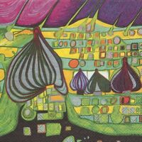 4 Servietten - Hundertwasser - Land In Gelb