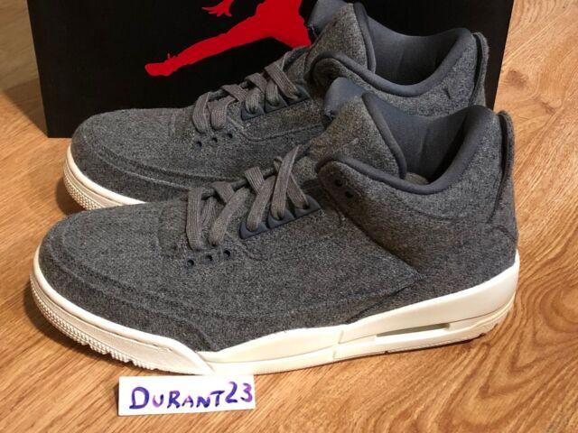 498d02841ad 2016 Nike Air Jordan 3 Retro III Wool Size 8.5 Dark Grey Sail White ...