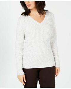 Karen Scott Solid White Knit Sweater Womens Size Medium 100/% Cotton