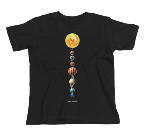 Kids T-Shirt PLANETS Astronomy Space Sun Moon Stars Telescope Novelty Unisex Top