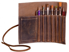 Genuine Leather Pen case Pencil holder stationary pouch for student artists Roll