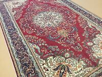 6'.3 X 10'.3 Red Navy Blue Turkish Kayseri Oriental Area Rug Hand Knotted Wool
