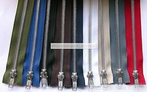 YKK-METAL-SILVER-TEETH-OPEN-ENDED-ZIP-CHOICE-OF-LENGTH-amp-COLOUR