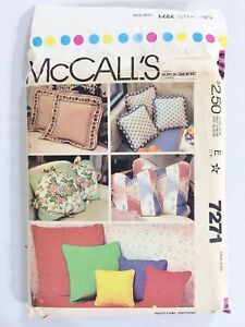 Details about Vintage McCall\'s 7271 Home Decorating Throw Pillows Pattern  Piping Tie-On