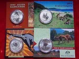 AUSTRALIA-1997-1998-1999-2000-1-Kangaroo-1oz-Silver-Coins-UNC-in-Cards
