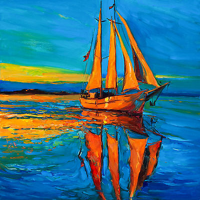 Australian art print tall ships nz sunset boat seascape ollie murrie 50cm
