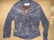 GORGEOUS Bradley by Bradley Bayou Navy Blue Leather Jacket . Wmns XSm. 4071