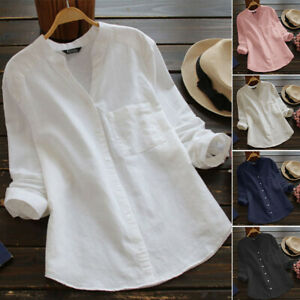 S-5XL Women Long Sleeve Shirt Casual Plain Plus Size Buttons Down Blouse Tops