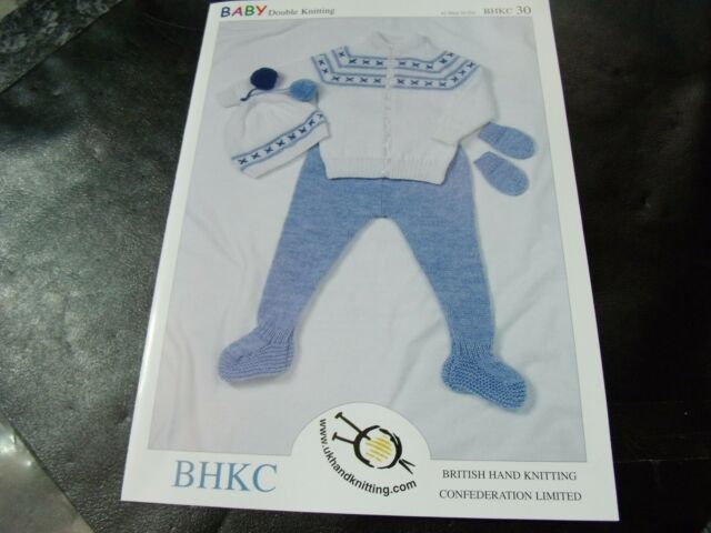 BHKC Baby Double Knitting Pattern 30 Jacket, Leggins, Hats & Mitts  16 - 22 ins