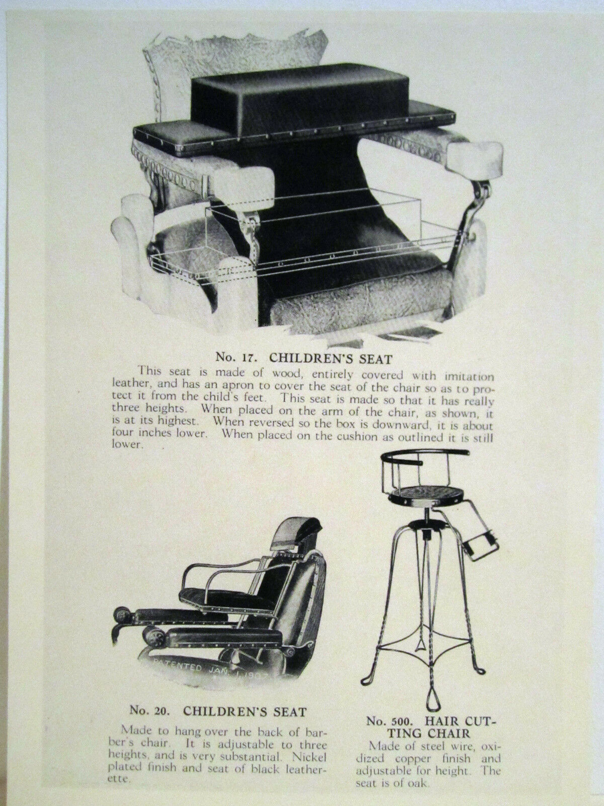 Barber chairs drawing - 1935 Paidar 3 Vintage Childrens Barber Chairs Leather Copper Sign Ad