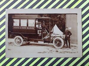 Carte-Photo-AUTOMOBILE-AMBULANCE-Service-de-SANTE-MILITAIRE-GUERRE-Car-Military
