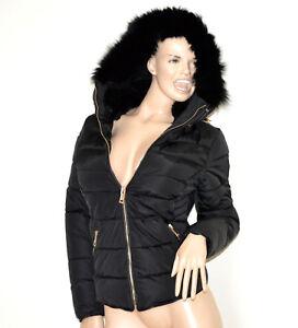 Doudoune-noir-femme-manteau-veste-jaquette-blouson-rembourre-coat-fourrure-G55