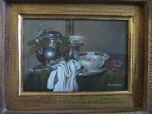 A-Glenn-signed-original-still-life-oil-painting-on-board-of-a-teapot-bowl-MINT