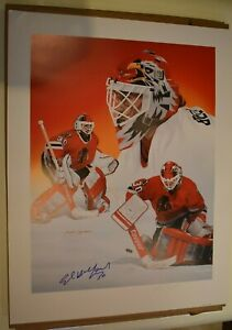 Ed-Belfour-Blackhawks-amp-Frank-Crymble-Auto-signed-19-1-2-x-25-1-4-034-lithograph