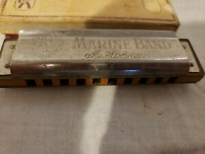 """Antique Harmonica Hohner """"Marine Band"""" late 1800s  Made in Germany Key C"""