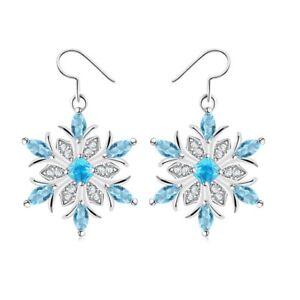 Fashion-Crystal-CZ-Silver-Earrings-Blue-Snowflake-Hook-Drop-Dangle-Earrings-GIft