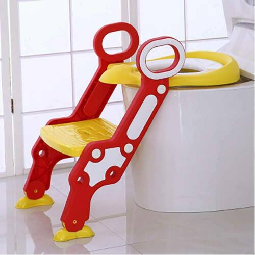 Yellow Childrens Toilet Seat Ladder Toddler Training Step Up For Kids Fold Down