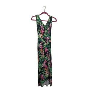 Tommy Bahama Oceanic Orchid Maxi Floral Wrap Dress XXS Tropical Vacation Print