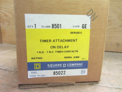 Square D 85022 Timer Attachment on Delay Nema A300 Series C NEW CSQ