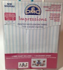 "DMC Impressions Printed Needlework Fabric Aida 14ct,14/"" x 18/"" Blue Check 2 Pack"