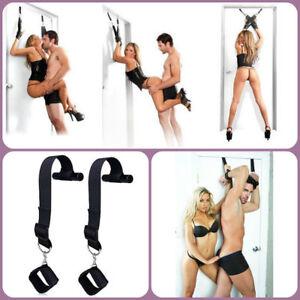 Adult-Sexy-Unisex-Toys-LOVE-Handcuffs-Door-Swing-Nylon-Hand-Cuffs-Straps-NEW