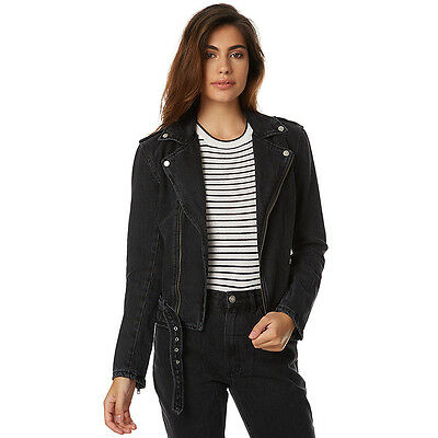 New Thrills Women's Denim Stranger Womens Biker Jacket Cotton Womens Jeans Black