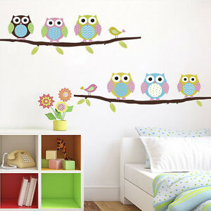Owls Childrens Room Decorative Cartoon Wall Stickers Home Colorful