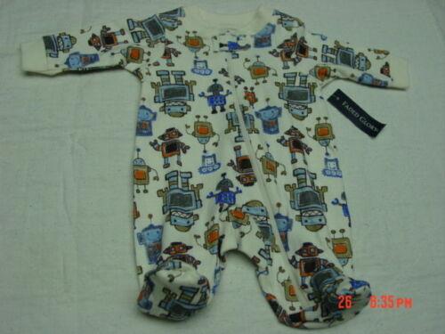NWT Infant Boys Cotton Preemie Sleep and Play Creeper Faded Glory Cream Robots