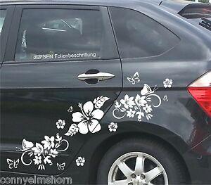 Autoaufkleber-Set-C49-ML-F-Schmetterlinge-Blumen-Hibiskus-Blueten-Hibiscusblueten