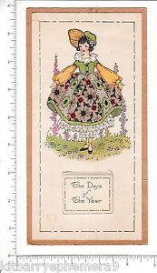 7092 Wall calendar 1922 girl w/ real fabric dress