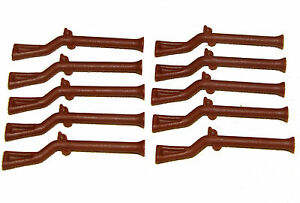 LEGO LOT OF 10 REDDISH BROWN PIRATE RIFLES GUNS WEAPONS MUSKETS