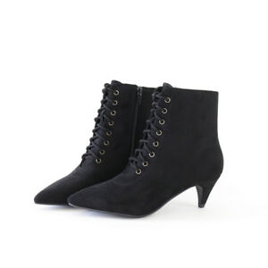 a093a2f85a65 Chic Edge Vegan Suede Lace Up Ankle Boots Booties Pointy Toe Kitten ...