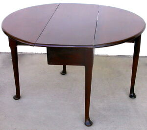 Image Is Loading Antique George II VIRGINIAN WALNUT Drop Leaf TABLE