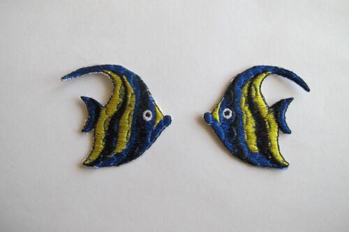 #2409 Lot 2Pcs Tropical Fish,Angel Fish Embroidery Applique Patch//Pair