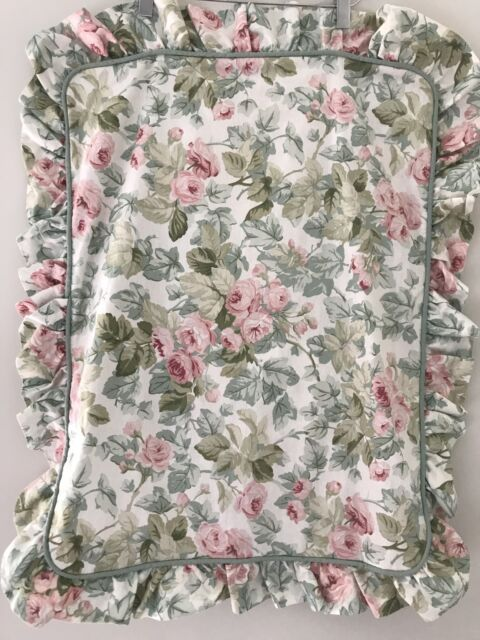 PAIR! Laura Ashley Country Cottage Rose PILLOW SHAMS Ruffled Shabby Chic