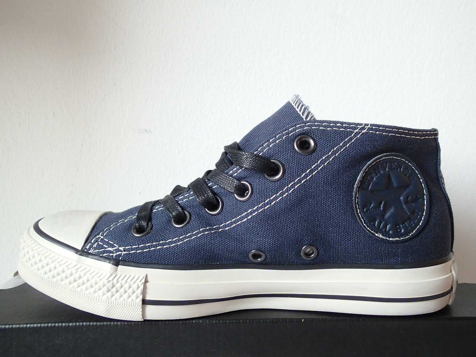 CONVERSE ALL STAR CT AS CLEAN MID DARK BLUE DI 131071C TELA BLU MEDIE CANVAS