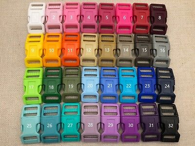 32x 3/4'' (20mm) Dog Collar Curved Side Release Plastic Buckles -32 colors