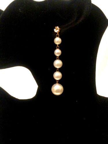 Declaración de gran tamaño para mujer larga grandes pendientes colgantes de caída de perlas de imitación con cuentas Vintage