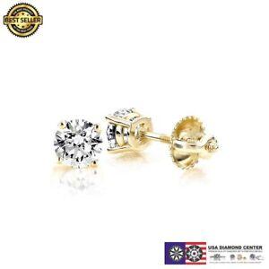 b2cf08525 1.00 Carat F VVS2 Ideal Cut Diamond Stud Earrings in 14K Yellow Gold ...